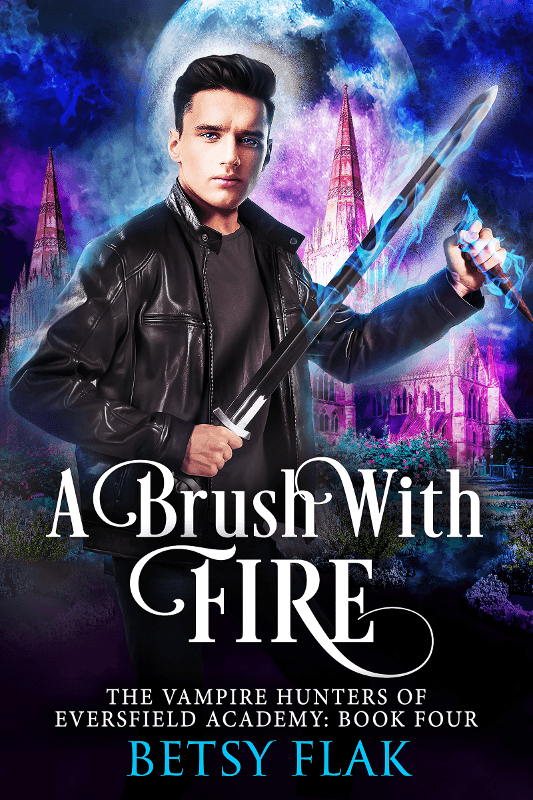 A Brush with Fire cover: A boy with icy blue eyes brandishes a magical sword and wooden stake in front of a boarding school at night.