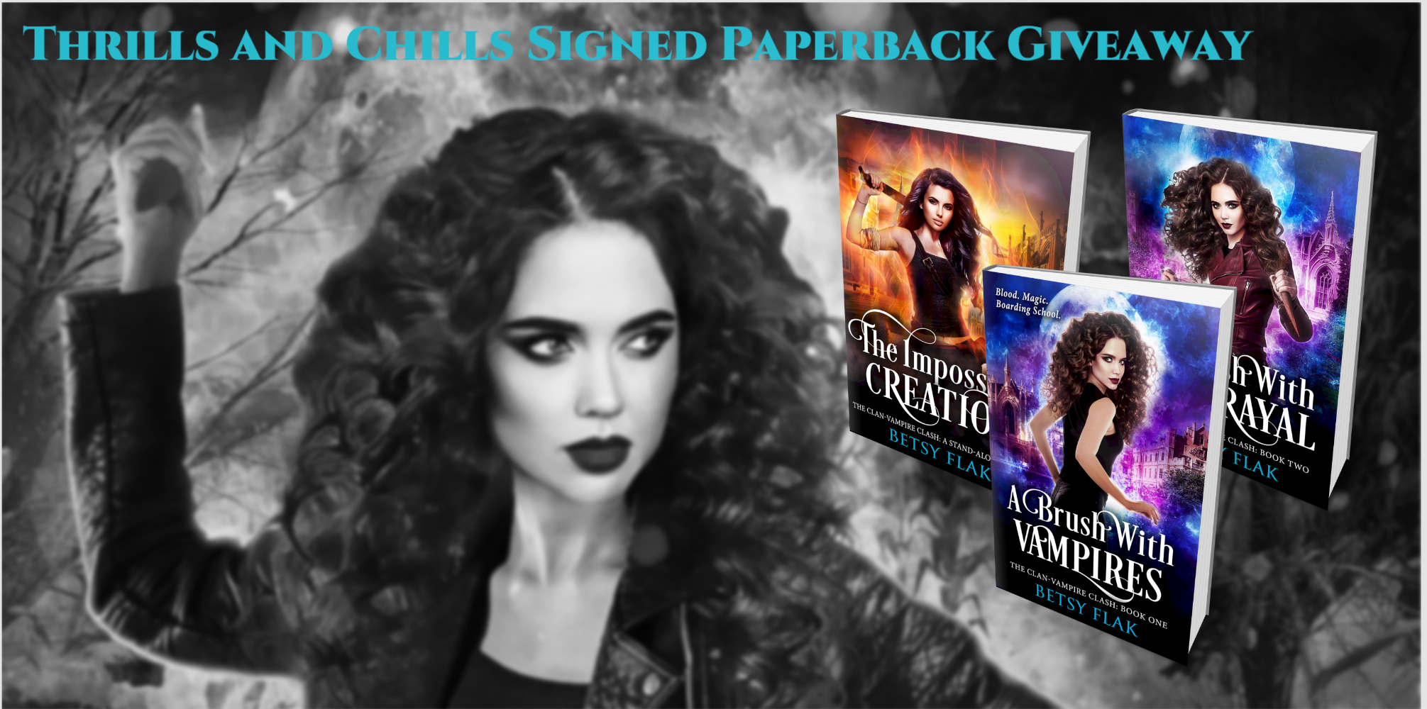 The Thrills and Chills Signed Paperback Giveaway: Win a box set of The Impossible Creation, A Brush with Vampires, and A Brush with Betrayal signed paperbacks.