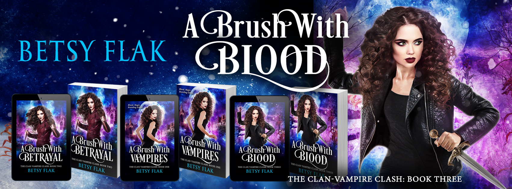 A Brush with Blood banner:  A girl with wild curly hair and blazing green eyes brandishes a wooden stake and a dagger in a snowy cornfield at night.