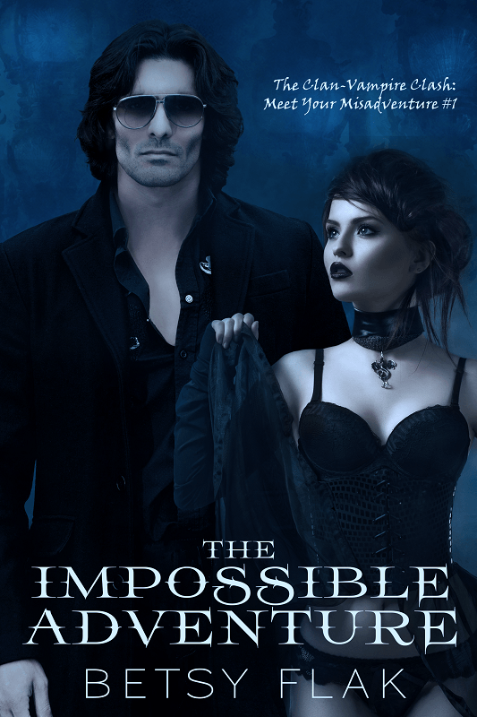 The Impossible Adventure cover:  A scantily clad girl looks up at a sinister man wearing sunglasses.