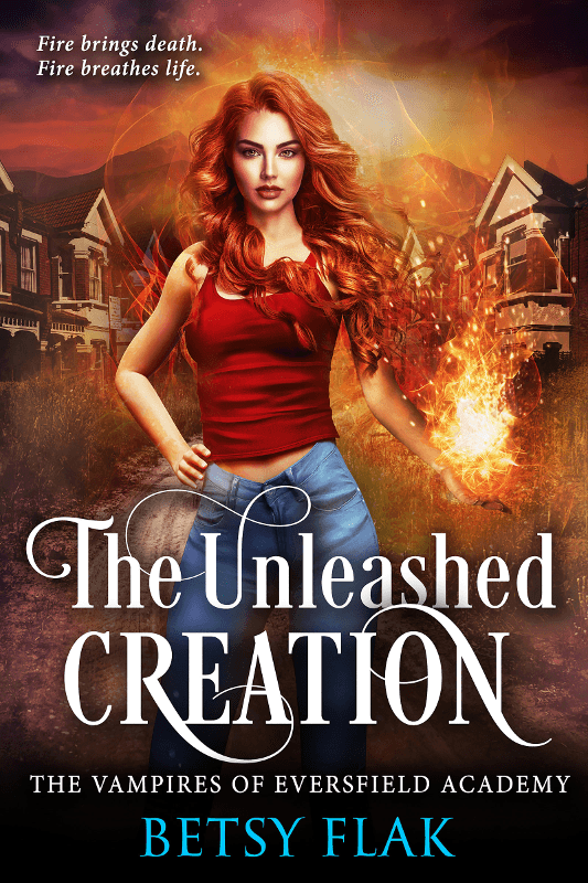 The Unleashed Creation cover: A girl with wild red hair brandishes a fireball in front of a mountain town.
